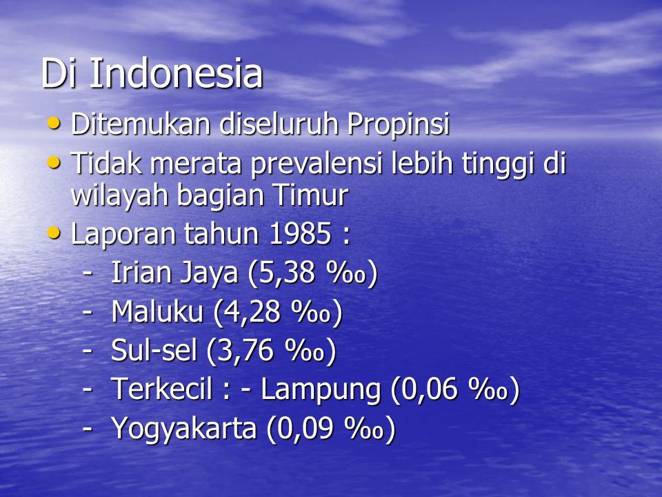 Di Indonesia Ditemukan diseluruh Propinsi Ditemukan diseluruh Propinsi Tidak merata prevalensi lebih tinggi di wilayah bagian Timur Tidak merata prevalensi lebih tinggi di wilayah bagian Timur Laporan tahun 1985 : Laporan tahun 1985 : - Irian Jaya (5,38 ‰) - Irian Jaya (5,38 ‰) - Maluku (4,28 ‰) - Maluku (4,28 ‰) - Sul-sel (3,76 ‰) - Sul-sel (3,76 ‰) - Terkecil : - Lampung (0,06 ‰) - Terkecil : - Lampung (0,06 ‰) - Yogyakarta (0,09 ‰) - Yogyakarta (0,09 ‰)