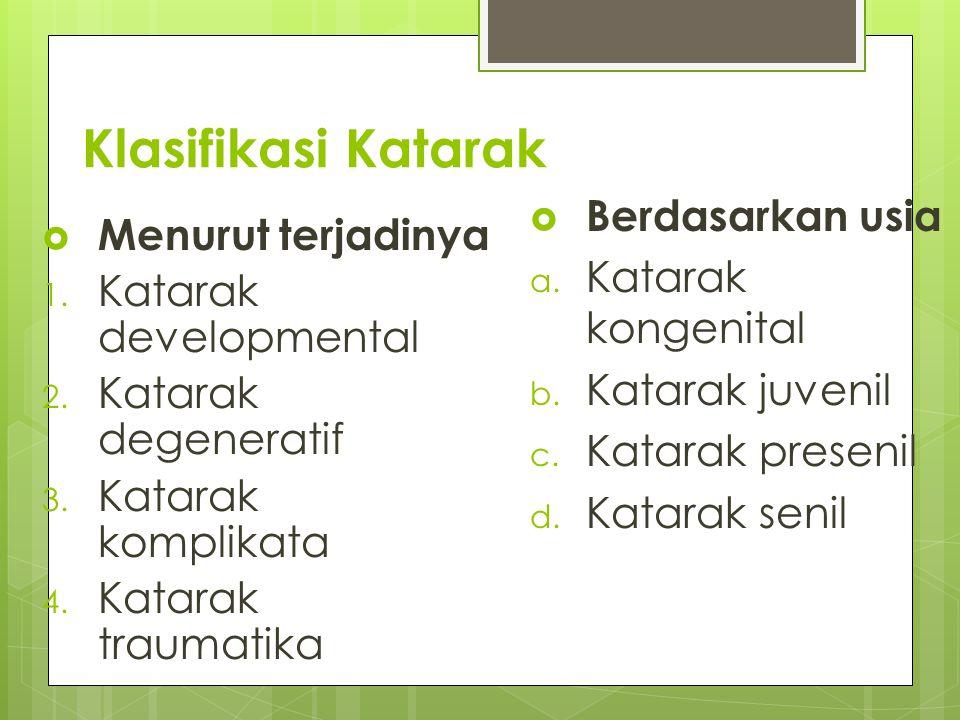 Klasifikasi Katarak  Menurut terjadinya 1. Katarak developmental 2. Katarak degeneratif 3. Katarak komplikata 4. Katarak traumatika  Berdasarkan usi