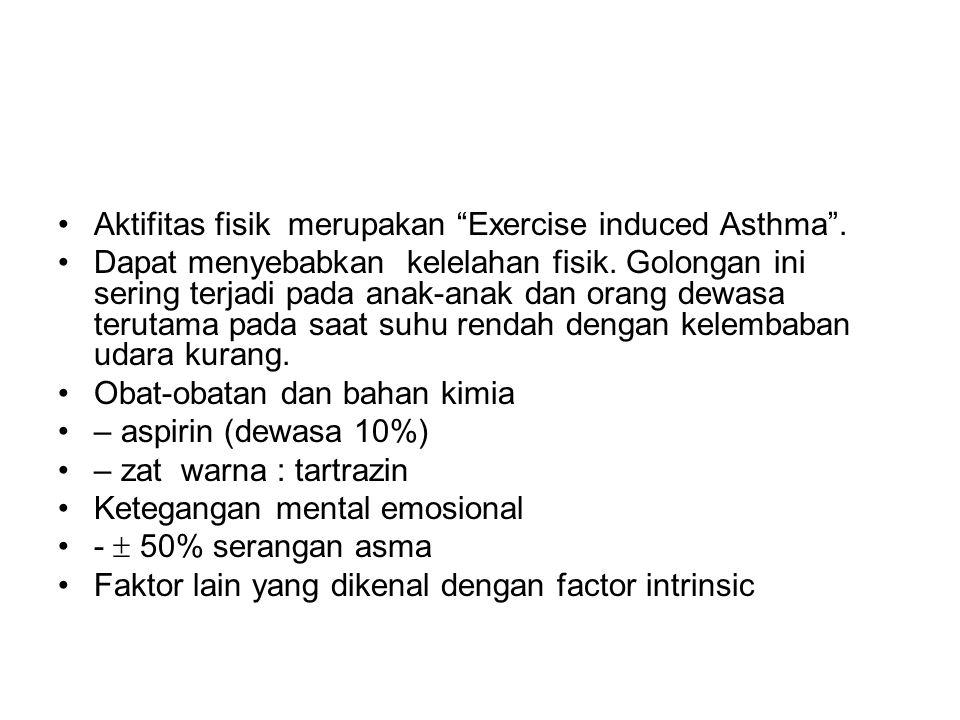"""Aktifitas fisik merupakan """"Exercise induced Asthma"""". Dapat menyebabkan kelelahan fisik. Golongan ini sering terjadi pada anak-anak dan orang dewasa te"""