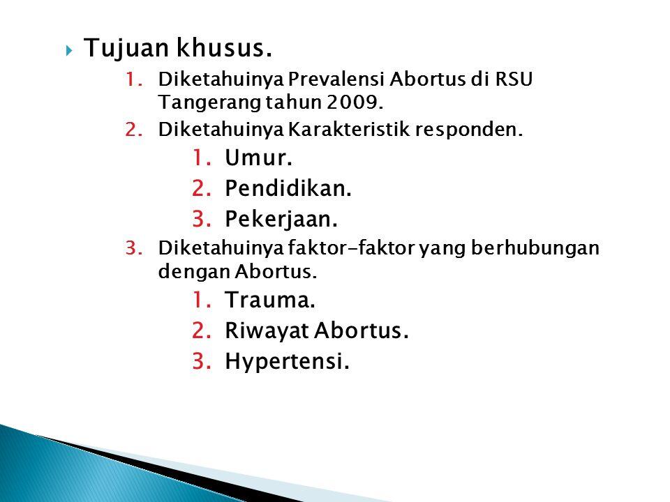 Tujuan khusus. 1.Diketahuinya Prevalensi Abortus di RSU Tangerang tahun 2009. 2.Diketahuinya Karakteristik responden. 1.Umur. 2.Pendidikan. 3.Pekerj
