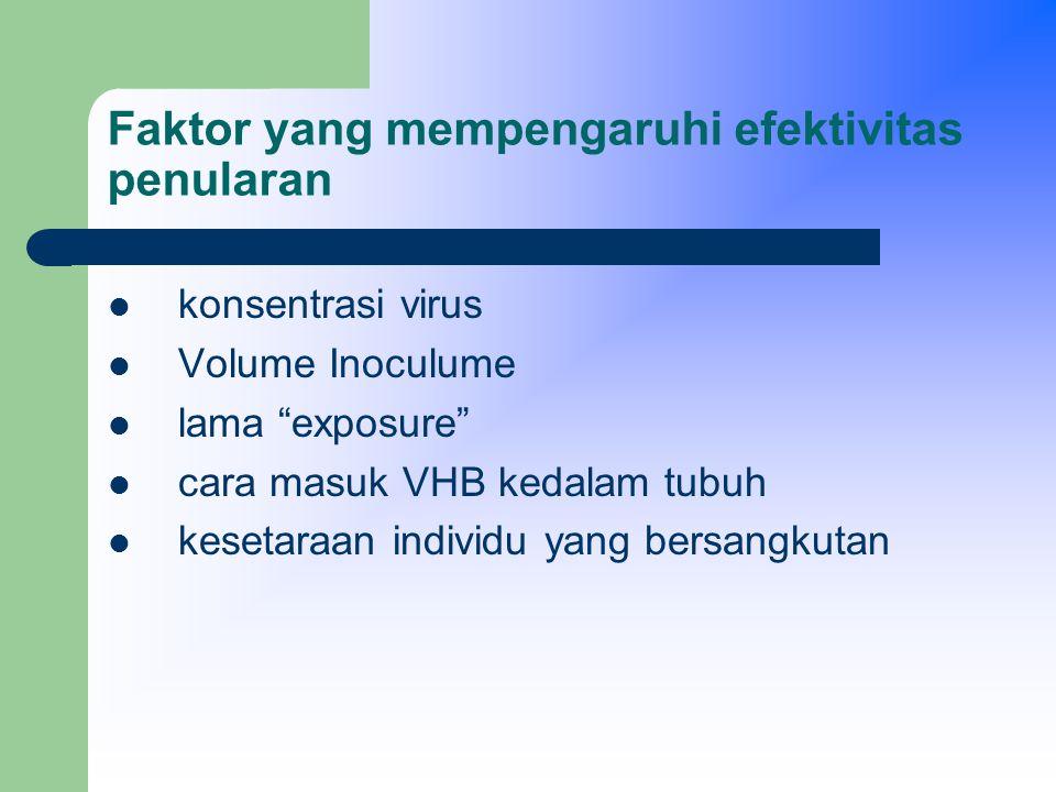 Faktor yang mempengaruhi efektivitas penularan konsentrasi virus – indikator VHB yang paling praktis dan paling baik adalah Hbe Ag (France, dkk,1981, Dienstag, 1984).