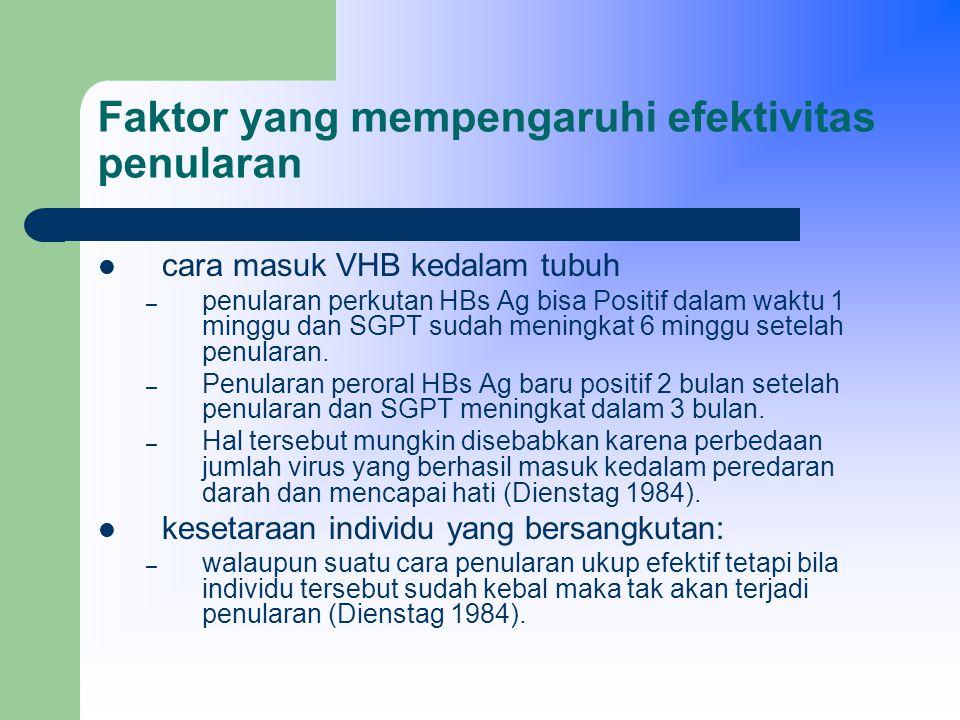 Faktor yang mempengaruhi efektivitas penularan cara masuk VHB kedalam tubuh – penularan perkutan HBs Ag bisa Positif dalam waktu 1 minggu dan SGPT sudah meningkat 6 minggu setelah penularan.