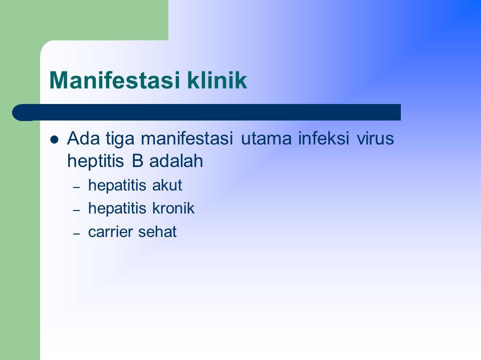Manifestasi klinik Hepatitis akut : perjalanan penyakit dibagi menjadi 4 tahap yaitu: – masa inkubasi berkisar antara 28 – 225 dengan rata – rata 75 hari.