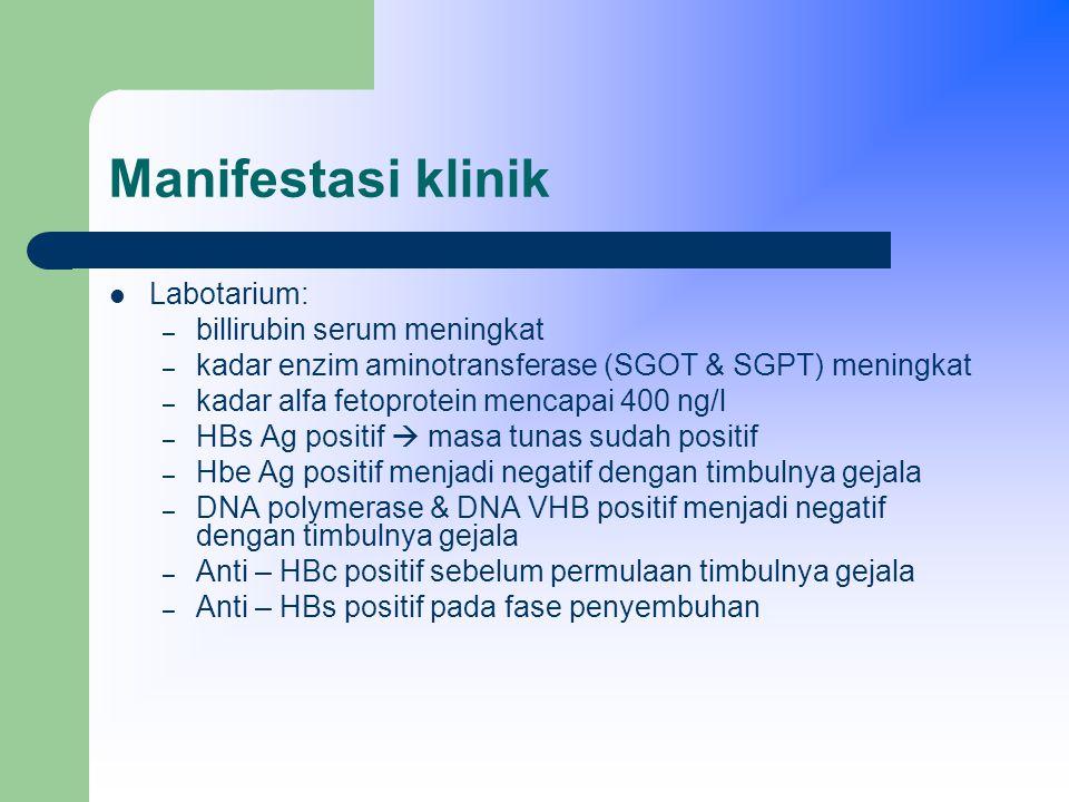 Manifestasi klinik Labotarium: – billirubin serum meningkat – kadar enzim aminotransferase (SGOT & SGPT) meningkat – kadar alfa fetoprotein mencapai 400 ng/l – HBs Ag positif  masa tunas sudah positif – Hbe Ag positif menjadi negatif dengan timbulnya gejala – DNA polymerase & DNA VHB positif menjadi negatif dengan timbulnya gejala – Anti – HBc positif sebelum permulaan timbulnya gejala – Anti – HBs positif pada fase penyembuhan