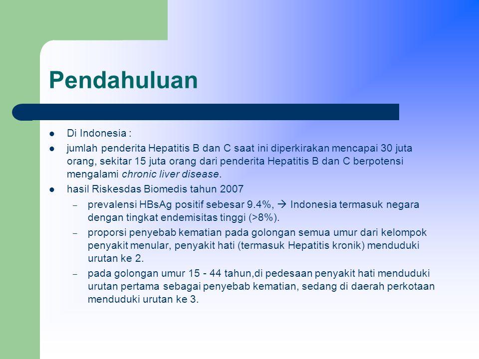 Pendahuluan Di Indonesia : jumlah penderita Hepatitis B dan C saat ini diperkirakan mencapai 30 juta orang, sekitar 15 juta orang dari penderita Hepatitis B dan C berpotensi mengalami chronic liver disease.