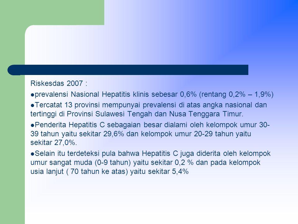 Riskesdas 2007 : prevalensi Nasional Hepatitis klinis sebesar 0,6% (rentang 0,2% – 1,9%) Tercatat 13 provinsi mempunyai prevalensi di atas angka nasional dan tertinggi di Provinsi Sulawesi Tengah dan Nusa Tenggara Timur.