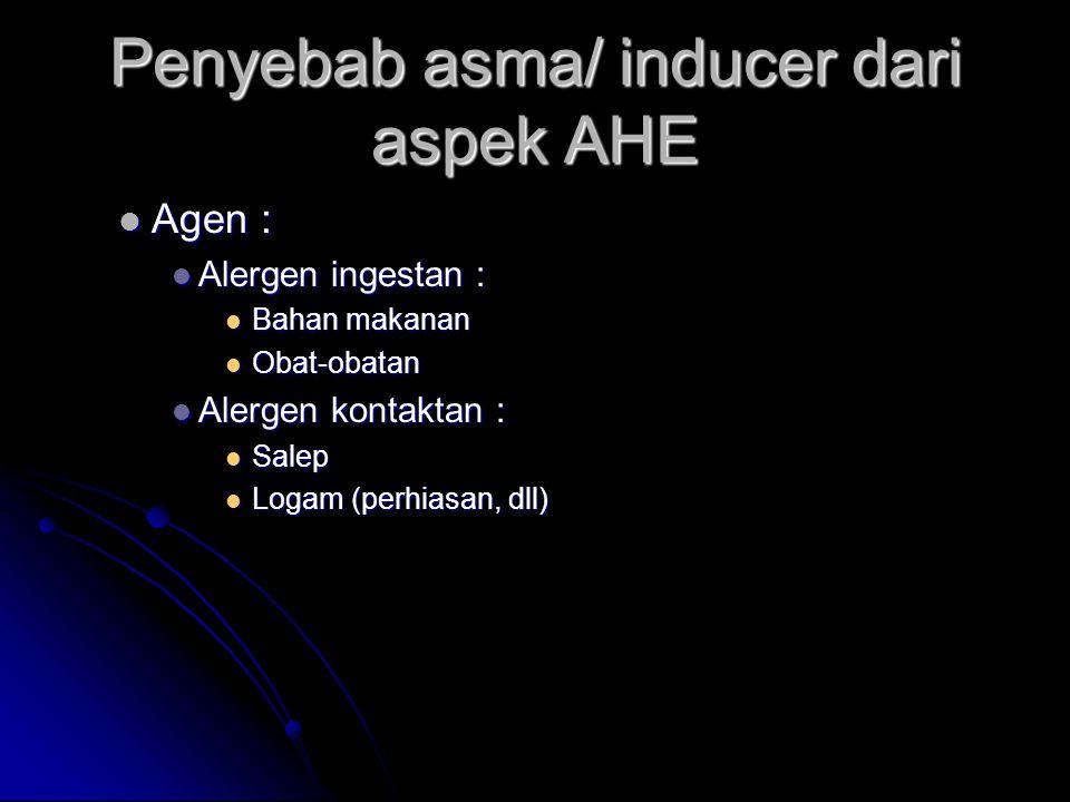 Penyebab asma/ inducer dari aspek AHE Agen : Agen : Alergen ingestan : Alergen ingestan : Bahan makanan Bahan makanan Obat-obatan Obat-obatan Alergen kontaktan : Alergen kontaktan : Salep Salep Logam (perhiasan, dll) Logam (perhiasan, dll)