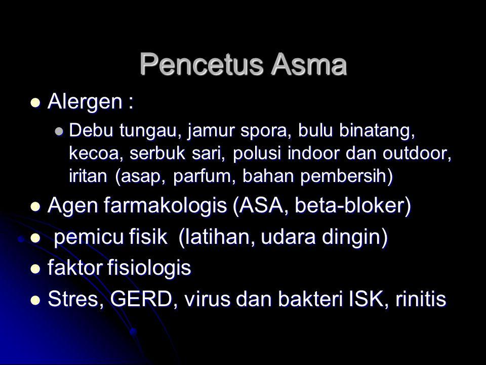 Pencetus Asma Alergen : Alergen : Debu tungau, jamur spora, bulu binatang, kecoa, serbuk sari, polusi indoor dan outdoor, iritan (asap, parfum, bahan pembersih) Debu tungau, jamur spora, bulu binatang, kecoa, serbuk sari, polusi indoor dan outdoor, iritan (asap, parfum, bahan pembersih) Agen farmakologis (ASA, beta-bloker) Agen farmakologis (ASA, beta-bloker) pemicu fisik (latihan, udara dingin) pemicu fisik (latihan, udara dingin) faktor fisiologis faktor fisiologis Stres, GERD, virus dan bakteri ISK, rinitis Stres, GERD, virus dan bakteri ISK, rinitis