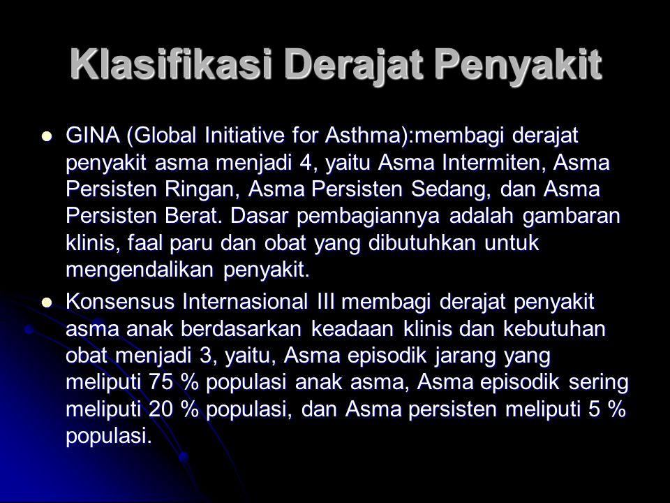 Klasifikasi Derajat Penyakit GINA (Global Initiative for Asthma):membagi derajat penyakit asma menjadi 4, yaitu Asma Intermiten, Asma Persisten Ringan, Asma Persisten Sedang, dan Asma Persisten Berat.