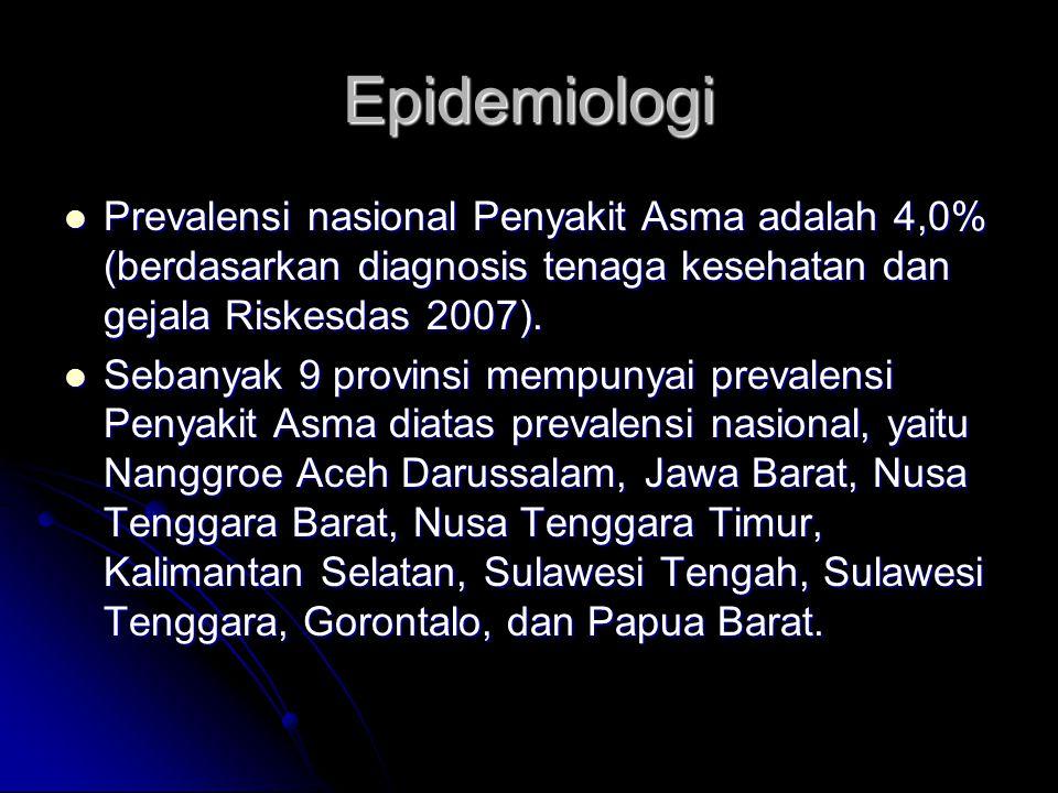 Epidemiologi Prevalensi nasional Penyakit Asma adalah 4,0% (berdasarkan diagnosis tenaga kesehatan dan gejala Riskesdas 2007).