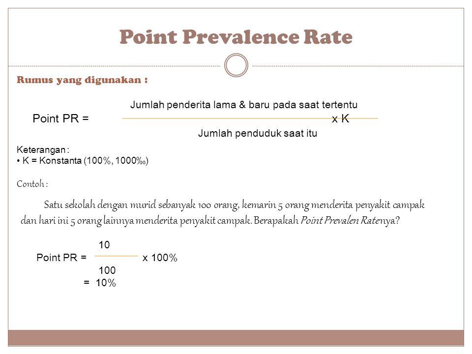 Point Prevalence Rate Rumus yang digunakan : Jumlah penderita lama & baru pada saat tertentu Point PR = x K Jumlah penduduk saat itu Keterangan : K =