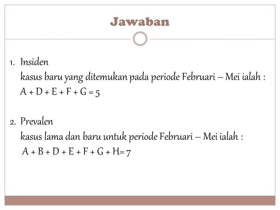Jawaban 1.Insiden kasus baru yang ditemukan pada periode Februari – Mei ialah : A + D + E + F + G = 5 2. Prevalen kasus lama dan baru untuk periode Fe