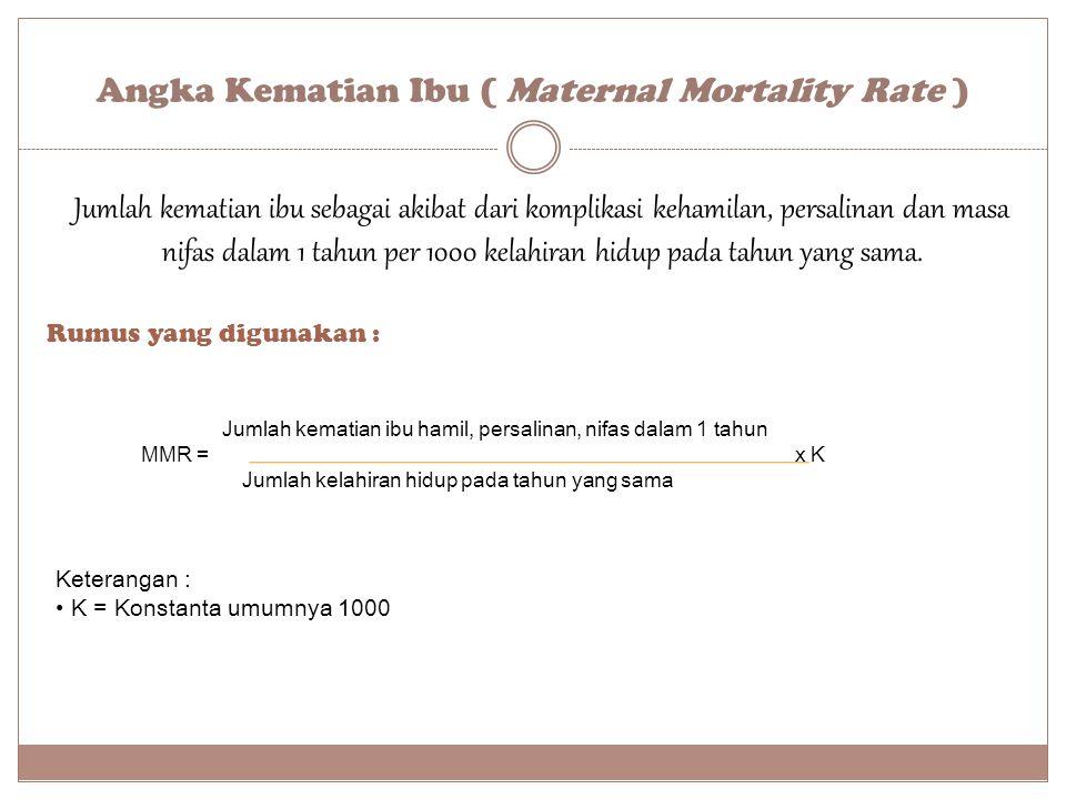 Angka Kematian Ibu ( Maternal Mortality Rate ) Rumus yang digunakan : Keterangan : K = Konstanta umumnya 1000 Jumlah kematian ibu hamil, persalinan, n