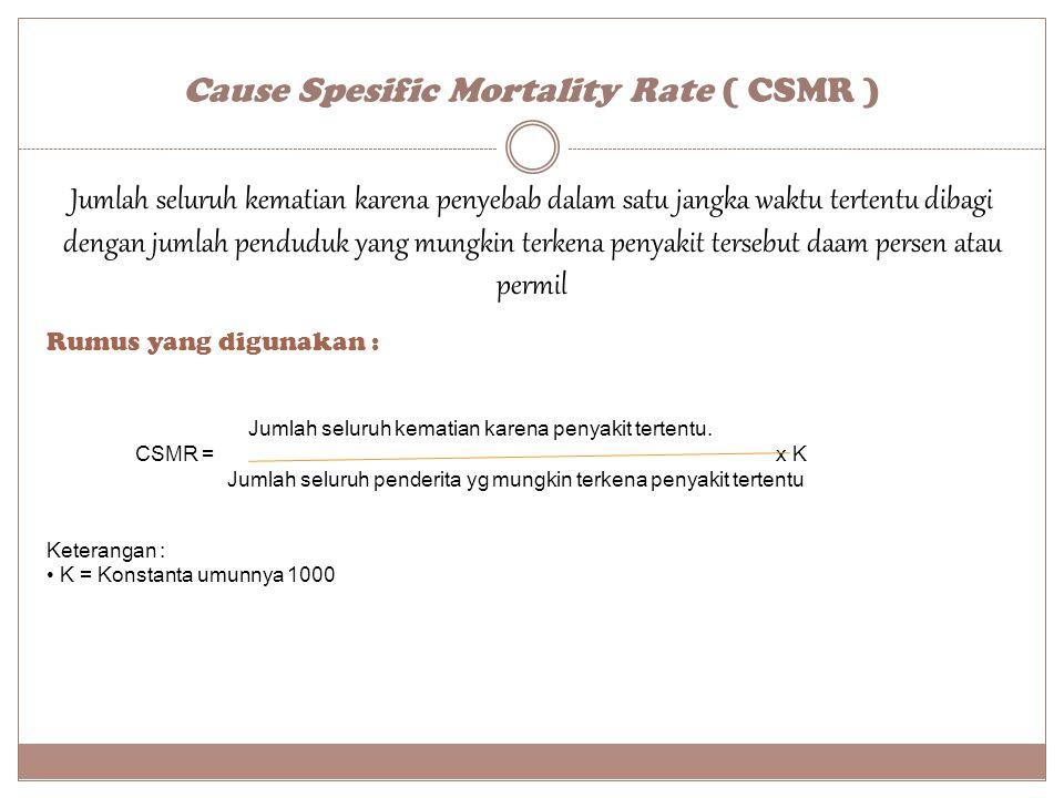 Cause Spesific Mortality Rate ( CSMR ) Rumus yang digunakan : Keterangan : K = Konstanta umunnya 1000 Jumlah seluruh kematian karena penyakit tertentu