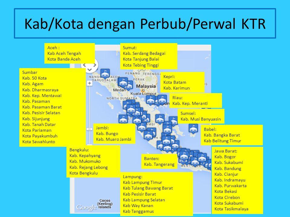 Kab/Kota dengan Perbub/Perwal KTR Aceh : Kab Aceh Tengah Kota Banda Aceh Sumut: Kab. Serdang Bedagai Kota Tanjung Balai Kota Tebing Tinggi Sumbar Kab.