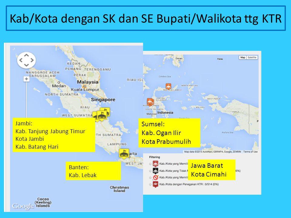 Kab/Kota dengan SK dan SE Bupati/Walikota ttg KTR Jawa Barat Kota Cimahi Sumsel: Kab. Ogan Ilir Kota Prabumulih Jambi: Kab. Tanjung Jabung Timur Kota