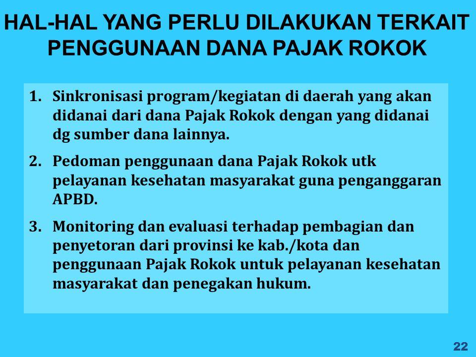 1.Sinkronisasi program/kegiatan di daerah yang akan didanai dari dana Pajak Rokok dengan yang didanai dg sumber dana lainnya. 2.Pedoman penggunaan dan