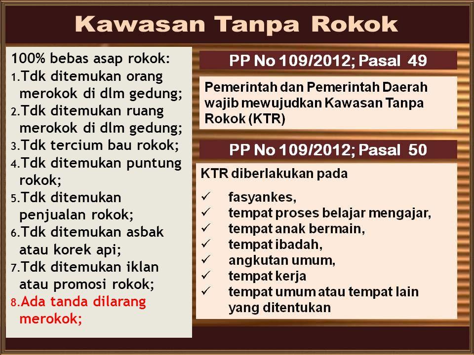 KEBIJAKAN NASIONAL PENGENDALIAN TEMBAKAU  UU Kesehatan No. 36 tahun 2009  Peraturan Bersama Menteri Kesehatan dan Menteri Dalam Negeri Nomor 188/Men