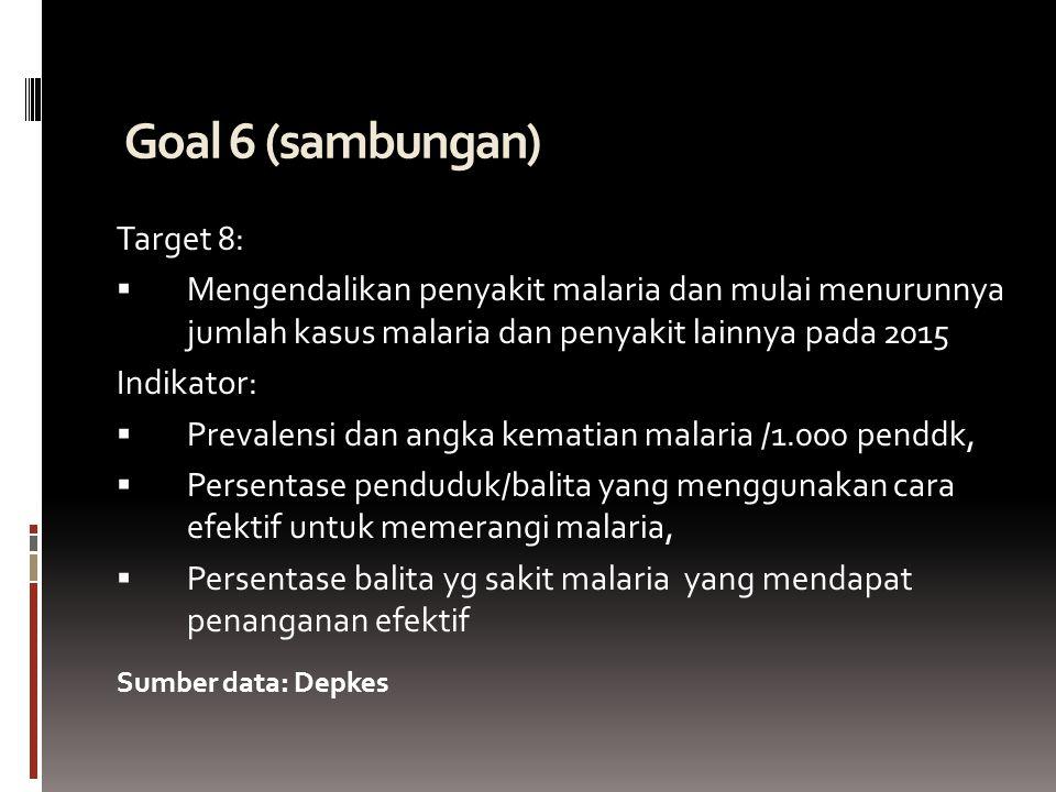 Goal 6 (sambungan)  Target 8:  Mengendalikan penyakit malaria dan mulai menurunnya jumlah kasus malaria dan penyakit lainnya pada 2015 Indikator:  Prevalensi dan angka kematian malaria /1.000 penddk,  Persentase penduduk/balita yang menggunakan cara efektif untuk memerangi malaria,  Persentase balita yg sakit malaria yang mendapat penanganan efektif Sumber data: Depkes
