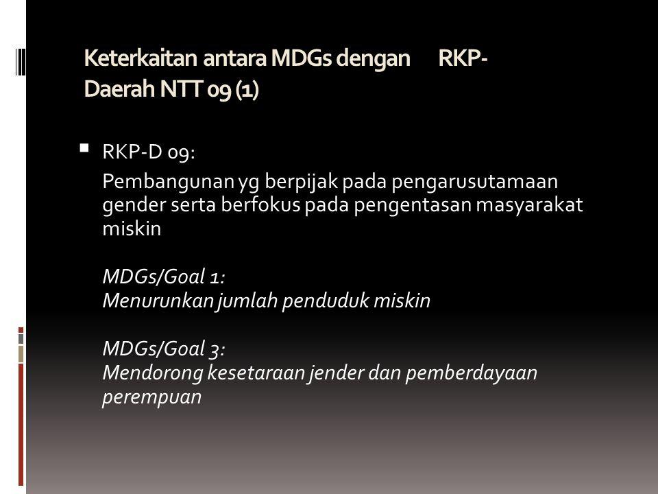 Keterkaitan antara MDGs dengan RKP- Daerah NTT 09 (1)   RKP-D 09: Pembangunan yg berpijak pada pengarusutamaan gender serta berfokus pada pengentasan masyarakat miskin MDGs/Goal 1: Menurunkan jumlah penduduk miskin MDGs/Goal 3: Mendorong kesetaraan jender dan pemberdayaan perempuan