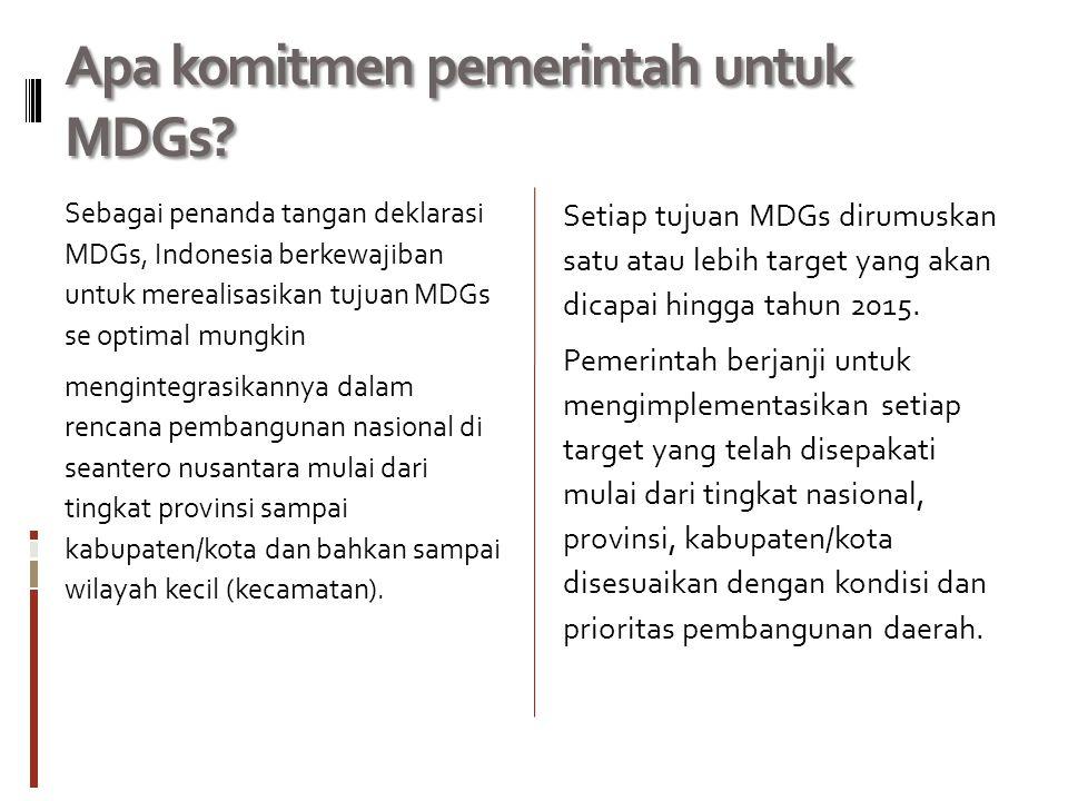 Apa komitmen pemerintah untuk MDGs.