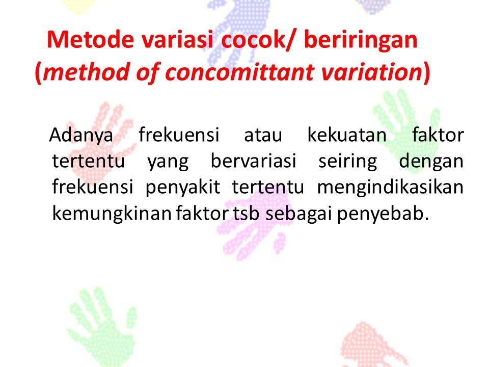 Adanya frekuensi atau kekuatan faktor tertentu yang bervariasi seiring dengan frekuensi penyakit tertentu mengindikasikan kemungkinan faktor tsb sebag