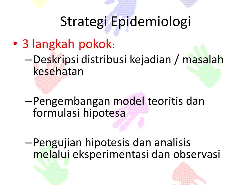 Strategi Epidemiologi 3 langkah pokok : 3 langkah pokok : – Deskripsi distribusi kejadian / masalah kesehatan – Pengembangan model teoritis dan formul