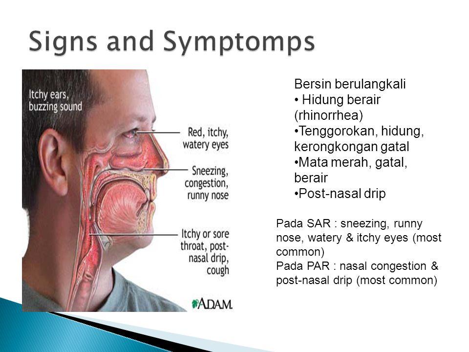 Bersin berulangkali Hidung berair (rhinorrhea) Tenggorokan, hidung, kerongkongan gatal Mata merah, gatal, berair Post-nasal drip Pada SAR : sneezing, runny nose, watery & itchy eyes (most common) Pada PAR : nasal congestion & post-nasal drip (most common)