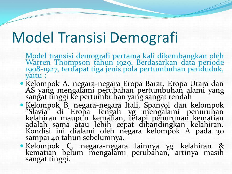 Model Transisi Demografi Model transisi demografi pertama kali dikembangkan oleh Warren Thompson tahun 1929. Berdasarkan data periode 1908-1927, terda
