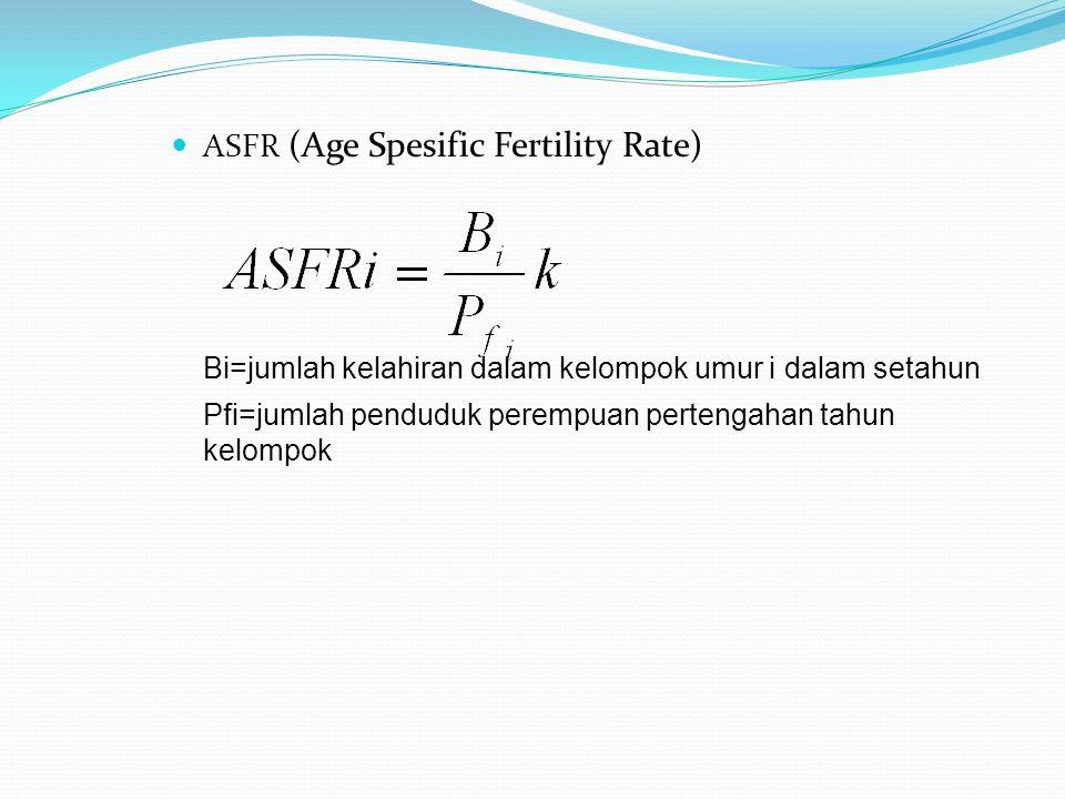 ASFR (Age Spesific Fertility Rate) Bi=jumlah kelahiran dalam kelompok umur i dalam setahun Pfi=jumlah penduduk perempuan pertengahan tahun kelompok