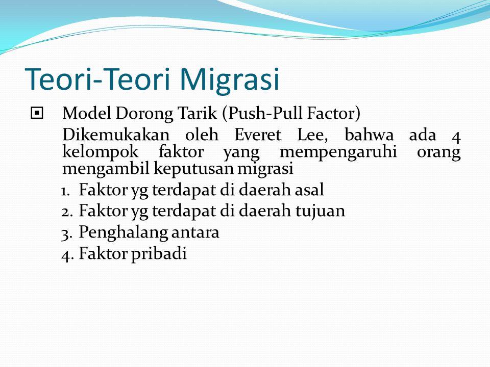 Teori-Teori Migrasi  Model Dorong Tarik (Push-Pull Factor) Dikemukakan oleh Everet Lee, bahwa ada 4 kelompok faktor yang mempengaruhi orang mengambil