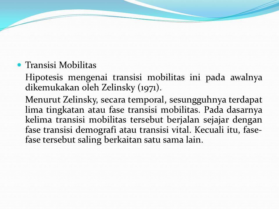 Transisi Mobilitas Hipotesis mengenai transisi mobilitas ini pada awalnya dikemukakan oleh Zelinsky (1971). Menurut Zelinsky, secara temporal, sesungg