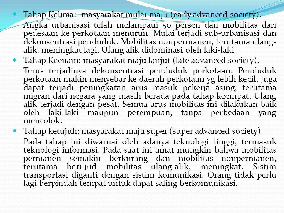 Tahap Kelima: masyarakat mulai maju (early advanced society). Angka urbanisasi telah melampaui 50 persen dan mobilitas dari pedesaan ke perkotaan menu