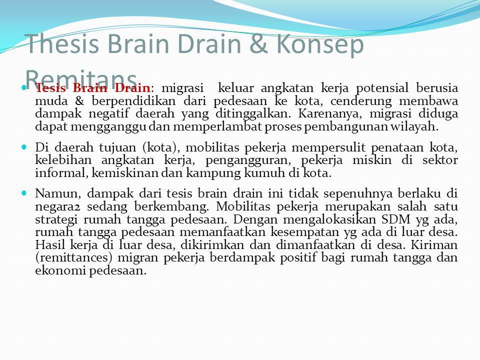 Thesis Brain Drain & Konsep Remitans Tesis Brain Drain: migrasi keluar angkatan kerja potensial berusia muda & berpendidikan dari pedesaan ke kota, ce