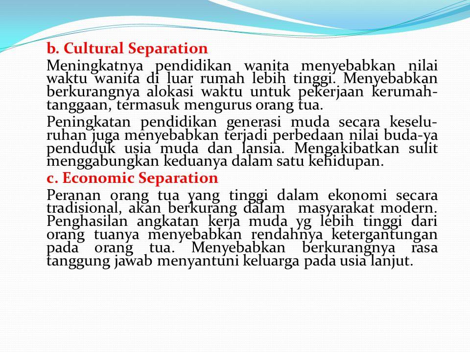 b. Cultural Separation Meningkatnya pendidikan wanita menyebabkan nilai waktu wanita di luar rumah lebih tinggi. Menyebabkan berkurangnya alokasi wakt