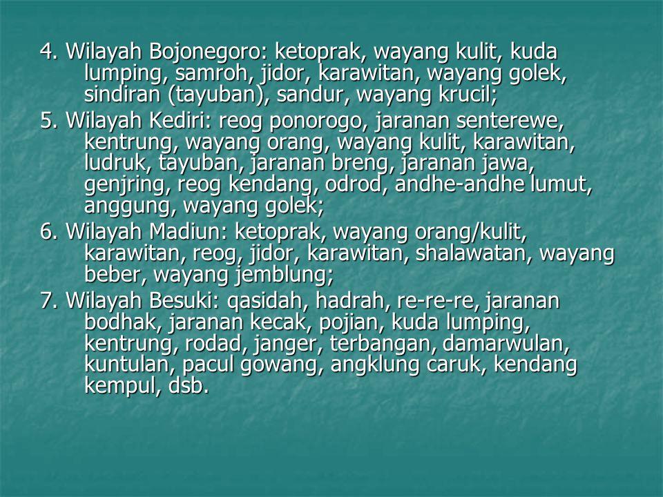 4. Wilayah Bojonegoro: ketoprak, wayang kulit, kuda lumping, samroh, jidor, karawitan, wayang golek, sindiran (tayuban), sandur, wayang krucil; 5. Wil