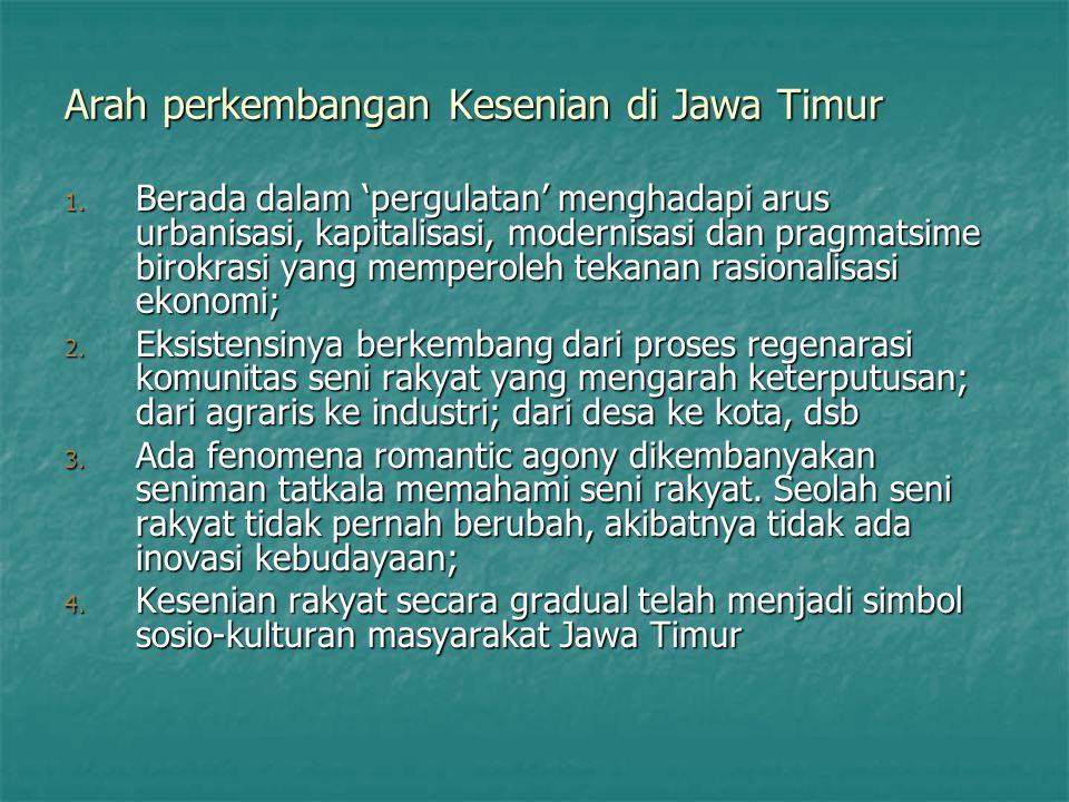 Arah perkembangan Kesenian di Jawa Timur 1. Berada dalam 'pergulatan' menghadapi arus urbanisasi, kapitalisasi, modernisasi dan pragmatsime birokrasi