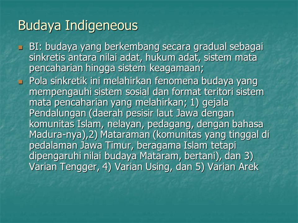Budaya Indigeneous BI: budaya yang berkembang secara gradual sebagai sinkretis antara nilai adat, hukum adat, sistem mata pencaharian hingga sistem ke