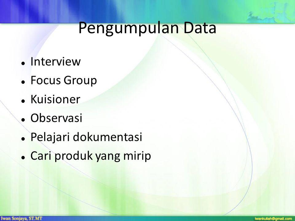 Pengumpulan Data Interview Focus Group Kuisioner Observasi Pelajari dokumentasi Cari produk yang mirip