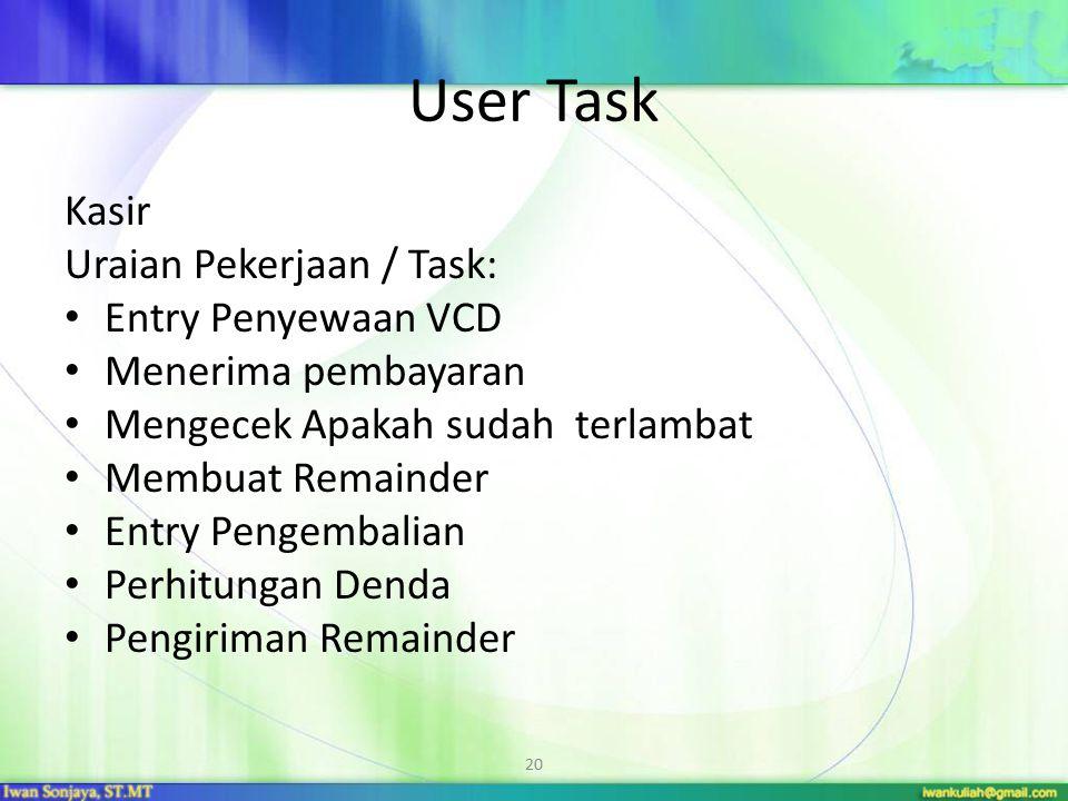 20 User Task Kasir Uraian Pekerjaan / Task: Entry Penyewaan VCD Menerima pembayaran Mengecek Apakah sudah terlambat Membuat Remainder Entry Pengembali