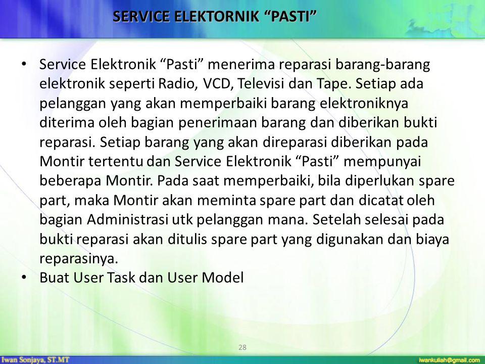 "28 SERVICE ELEKTORNIK ""PASTI"" Service Elektronik ""Pasti"" menerima reparasi barang-barang elektronik seperti Radio, VCD, Televisi dan Tape. Setiap ada"