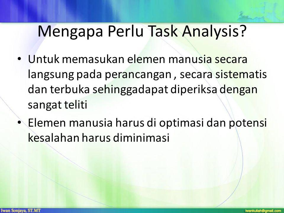 Mengapa Perlu Task Analysis? Untuk memasukan elemen manusia secara langsung pada perancangan, secara sistematis dan terbuka sehinggadapat diperiksa de