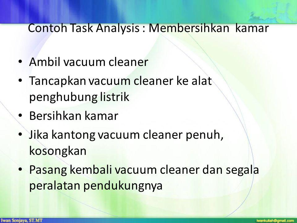 Contoh Task Analysis : Membersihkan kamar Ambil vacuum cleaner Tancapkan vacuum cleaner ke alat penghubung listrik Bersihkan kamar Jika kantong vacuum