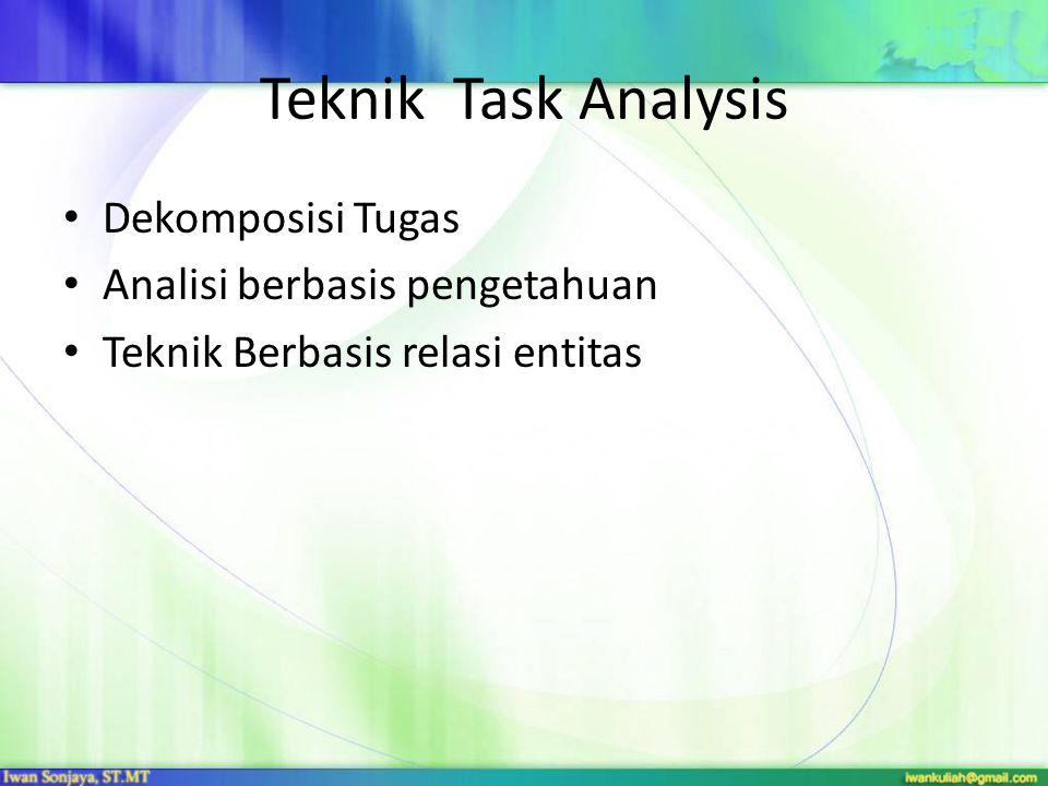 Dekomposisi Tugas Hierarchical Task Analysis (HTA) : adalah metode yang sering digunakan dalam pendekatan dekomposisi task HTA : deskripsi task dalam lingkup operasi (hal yang dilakukan manusia dalam mencapai sasaran), dan rencana (Pernyataan/kondisi saat tiap himpunan operasi harus dijalankan untuk mencapai sasaran operasi) Keluaran HTA adalah hirarki task dan sub task serta rencana yang menggambarkan urutan dan konndisi yan memungkinkan subtask berjalan