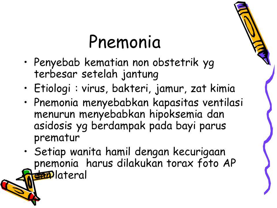 Bacterial pnemonia Terjadi karena inhalasi atau aspirasi sekret nasofaring Merokok dan bronkitis kronik mempermudah terjadinya pnemonia 2/3 pnemonia adalah bakterial Streptococus pnemonie adalah penyebab terbanyak yaitu 2/3 kasus.