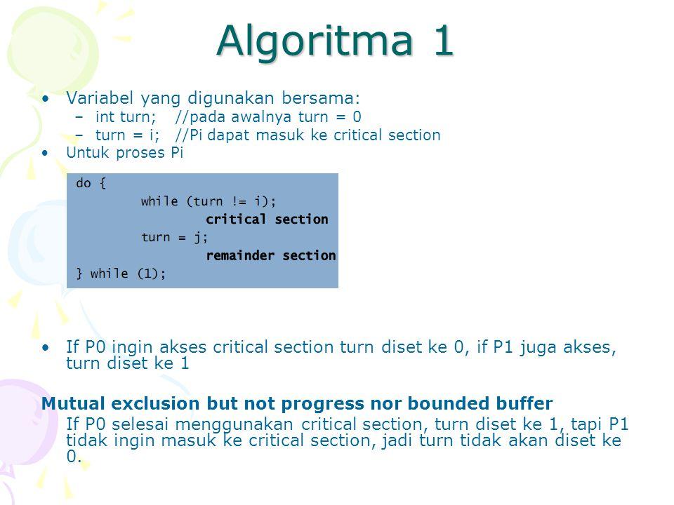 Algoritma 1 Variabel yang digunakan bersama: –int turn;//pada awalnya turn = 0 –turn = i; //Pi dapat masuk ke critical section Untuk proses Pi If P0 ingin akses critical section turn diset ke 0, if P1 juga akses, turn diset ke 1 Mutual exclusion but not progress nor bounded buffer If P0 selesai menggunakan critical section, turn diset ke 1, tapi P1 tidak ingin masuk ke critical section, jadi turn tidak akan diset ke 0.