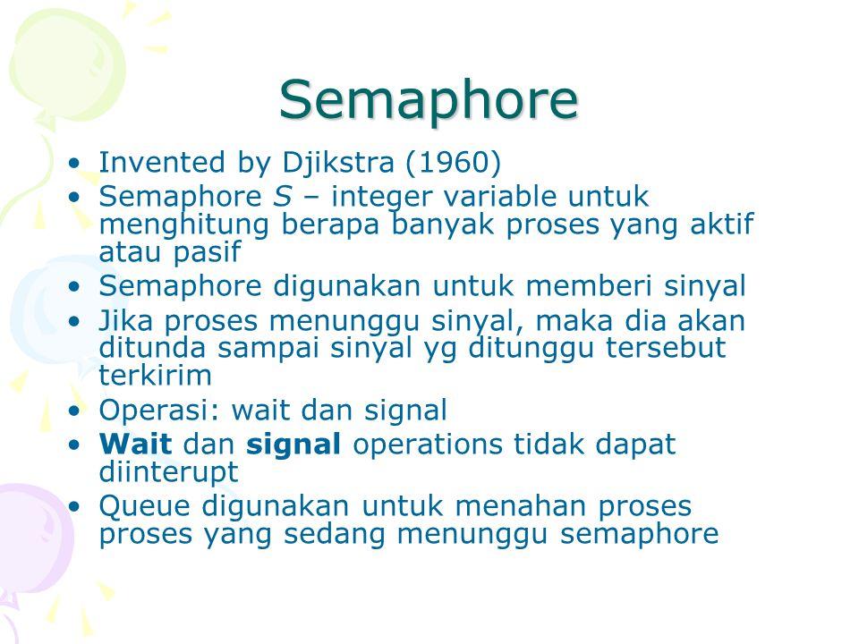 Semaphore Invented by Djikstra (1960) Semaphore S – integer variable untuk menghitung berapa banyak proses yang aktif atau pasif Semaphore digunakan u