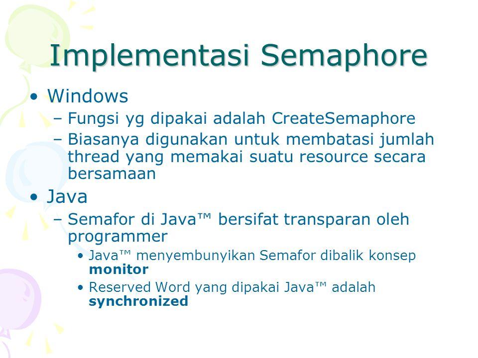 Implementasi Semaphore Windows –Fungsi yg dipakai adalah CreateSemaphore –Biasanya digunakan untuk membatasi jumlah thread yang memakai suatu resource secara bersamaan Java –Semafor di Java™ bersifat transparan oleh programmer Java™ menyembunyikan Semafor dibalik konsep monitor Reserved Word yang dipakai Java™ adalah synchronized