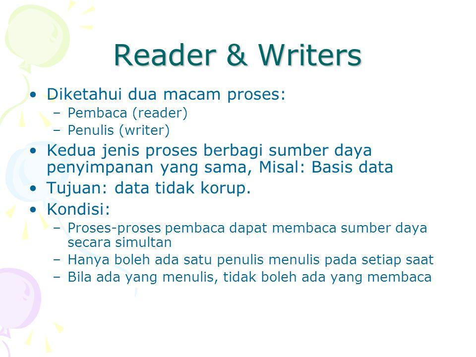 Reader & Writers Diketahui dua macam proses: –Pembaca (reader) –Penulis (writer) Kedua jenis proses berbagi sumber daya penyimpanan yang sama, Misal: Basis data Tujuan: data tidak korup.