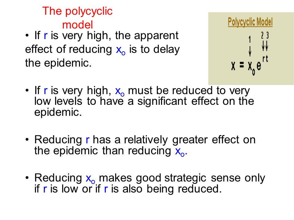 The polycyclic model If r is very high, the apparent effect of reducing x o is to delay the epidemic. If r is very high, x o must be reduced to very l